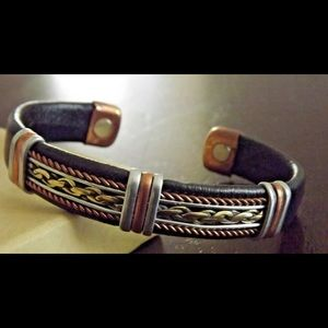 Jewelry - Pain Solid Copper Leather Wrapped Magnetic Bracele